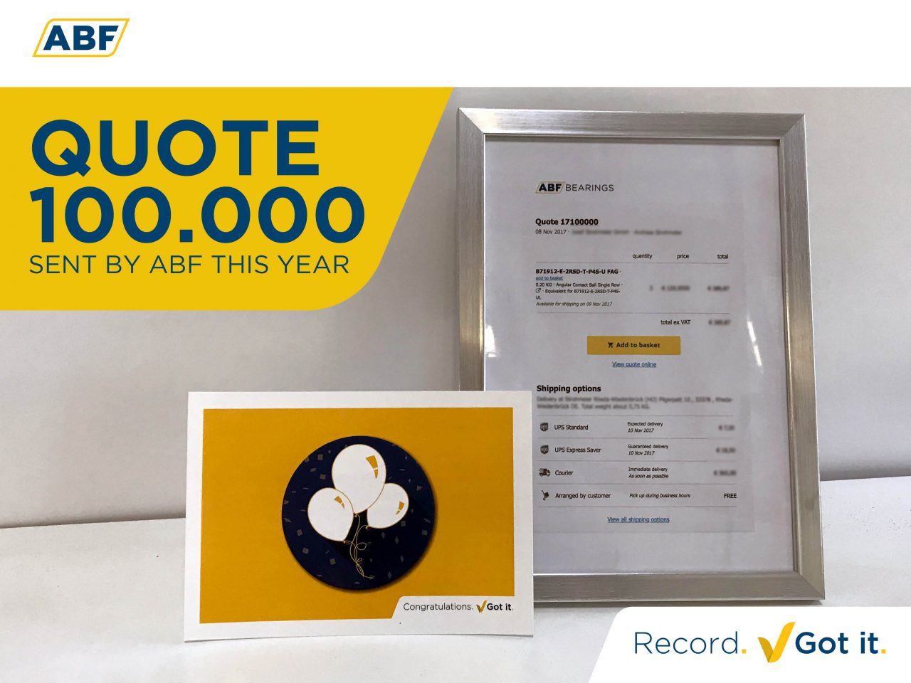 A new milestone for ABF. We just did it ‒ sent our 100,000 quote