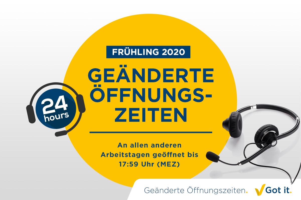 Angepasste Öffnungszeiten im Frühjahr 2020