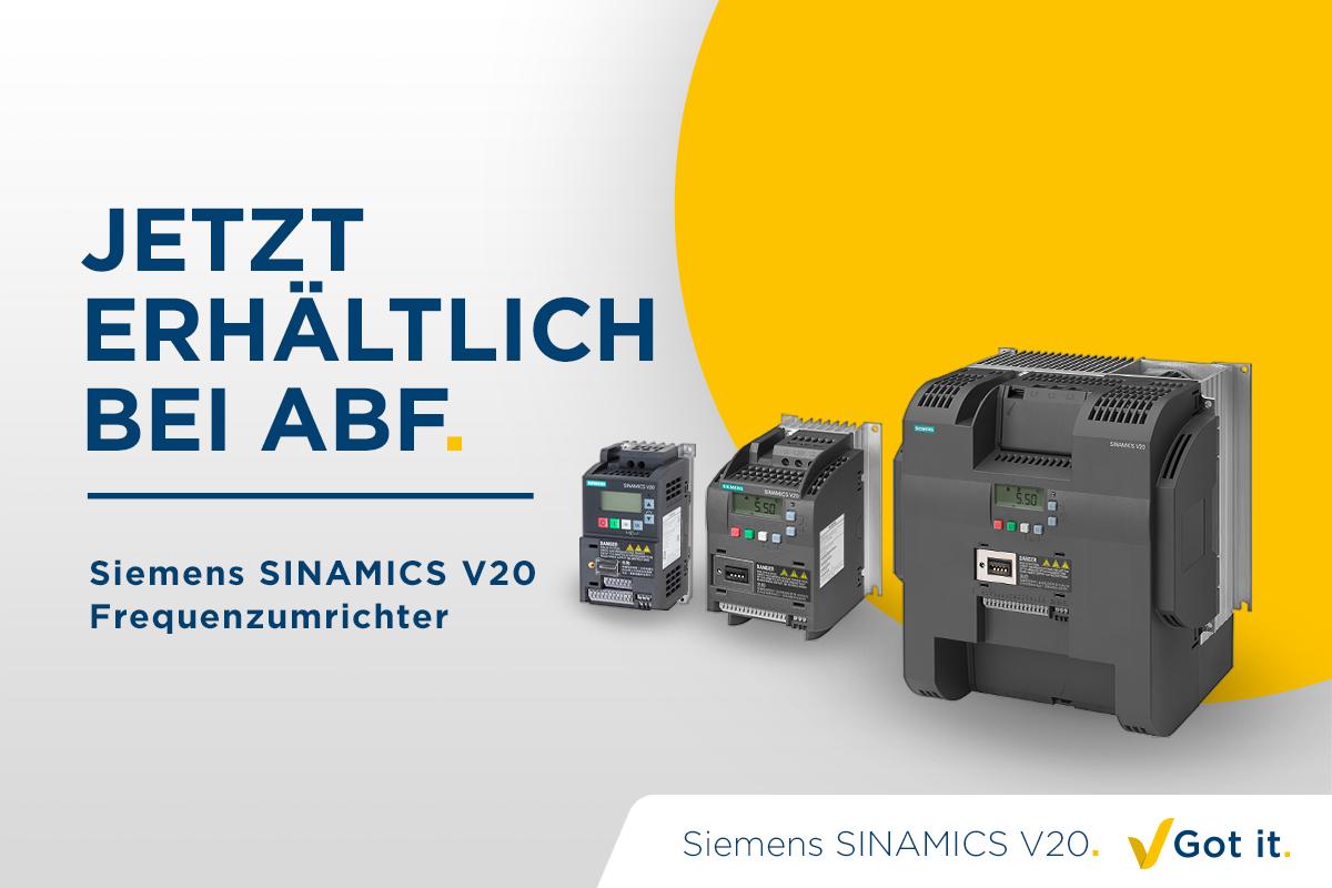 Siemens SINAMICS V20 Frequenzumrichter ab jetzt erhälltlich bei ABF