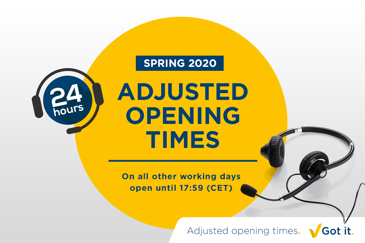 Adjusted opening times during spring 2020