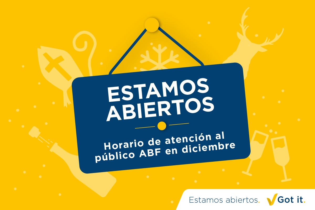 Horario de atención al público ABF en diciembre
