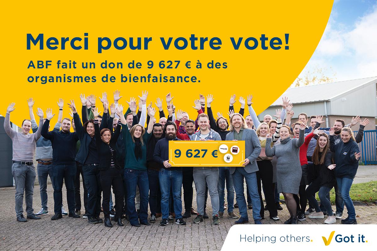 Merci pour votre vote lors de notre campagne de Noël