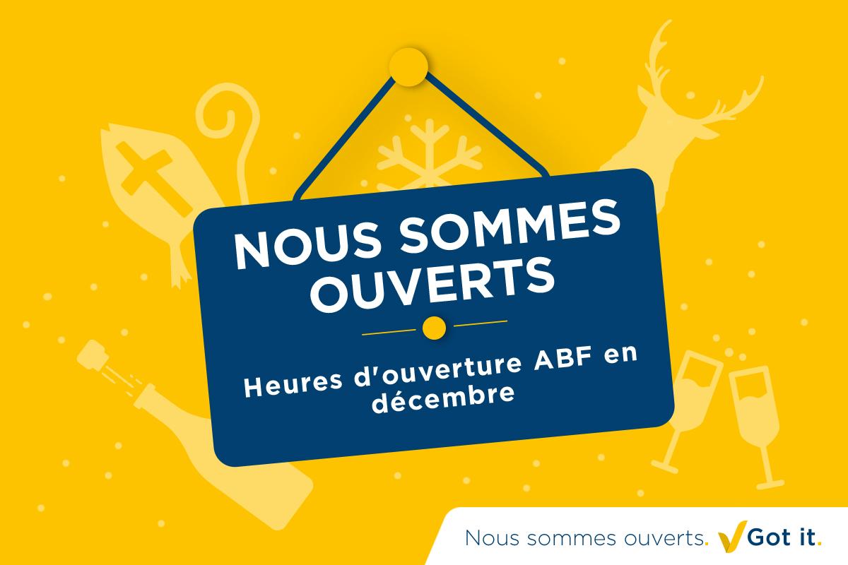 Heures d'ouverture ABF en décembre
