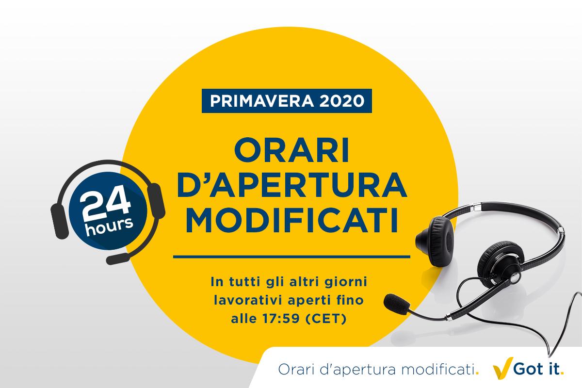 Orari di apertura rettificati primavera 2020