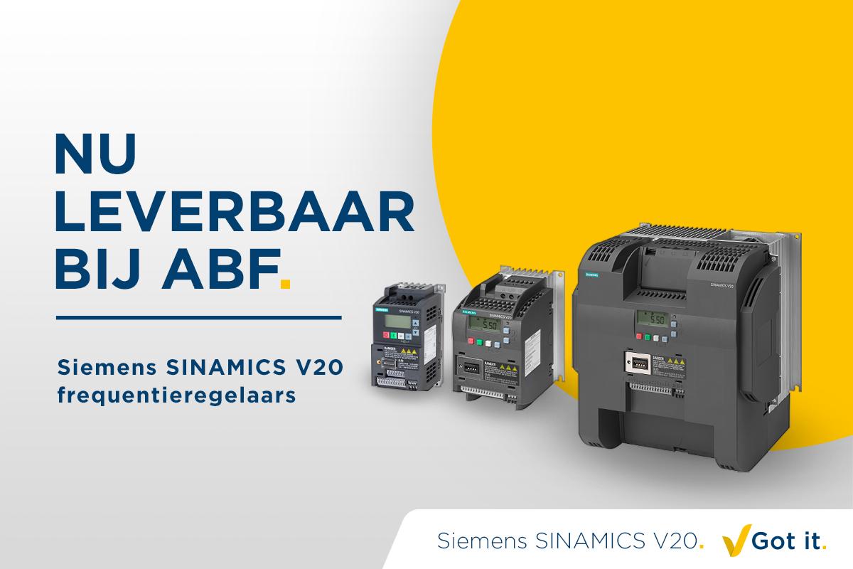 Siemens SINAMICS V20 frequentieregelaars nu verkrijgbaar bij ABF