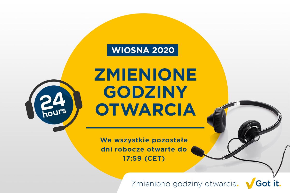 Skorygowano godziny otwarcia wiosną 2020 r