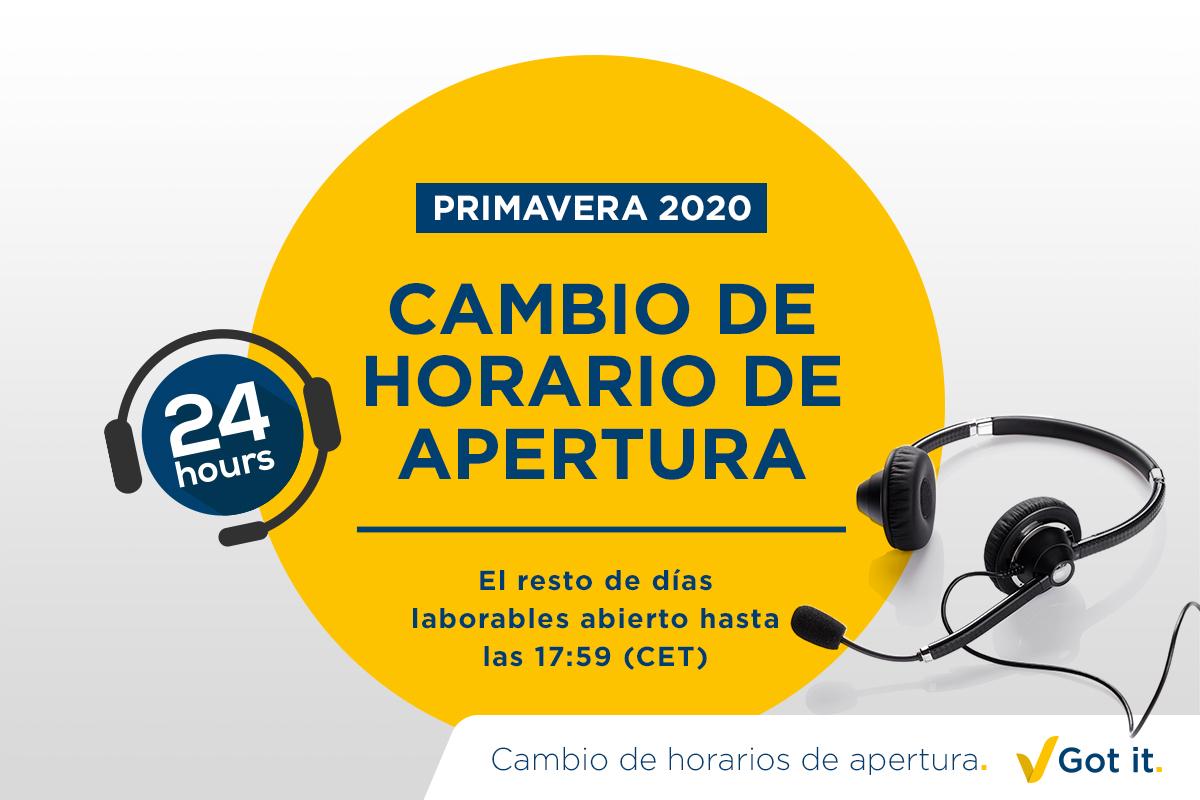 Horario de apertura ajustado durante la primavera de 2020