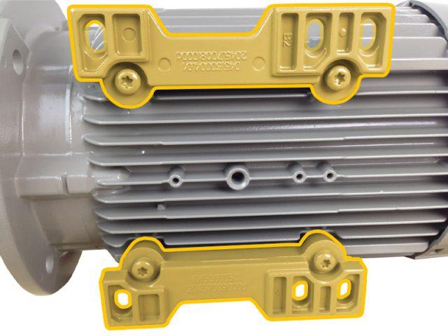 Voorbeeld elektromotor met verwijderbare voet